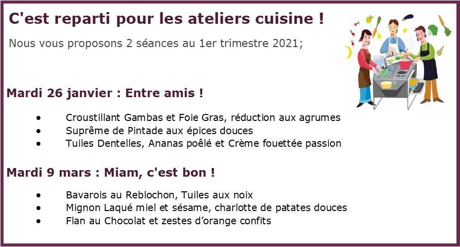 Atelier cuisine 2021
